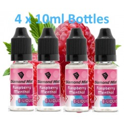4 x Raspberry & Menthol E-Liquid By Diamond Mist E-Liquid 40ml