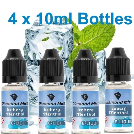 4 X Iceberg Menthol E Liquid By Diamond Mist E Liquid E Liquid 40ml | vapour me uk