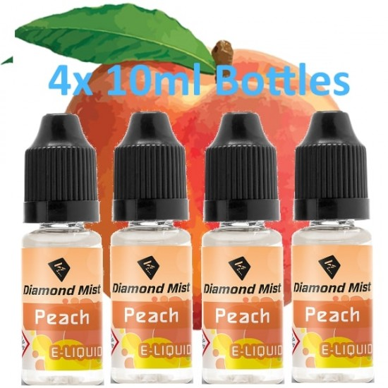 4 x Peach E Liquid By Diamond Mist E Liquid 40ml