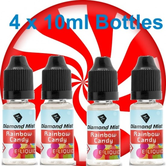 4 x Rainbow Candy E Liquid By Diamond Mist E Liquid 40ml