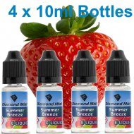 4 x Summer Breeze Strawberry & Mint E Liquid By Diamond Mist E Liquid 40ml