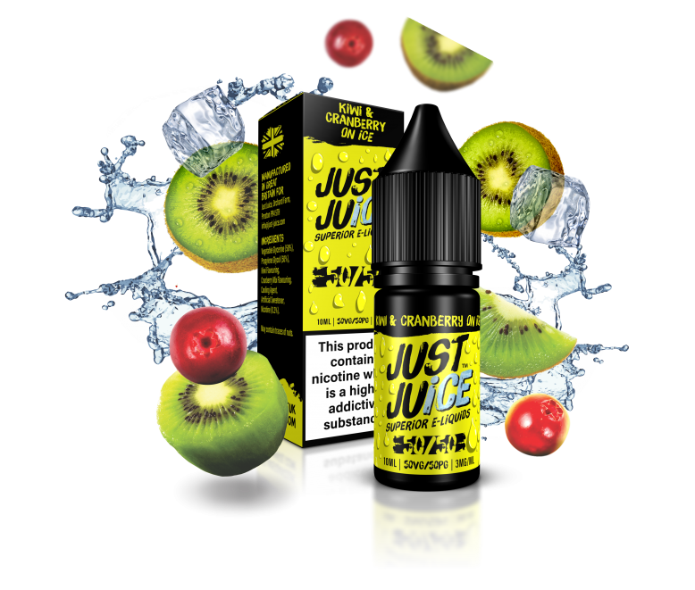 Just Juice 50:50 | KIWI & CRANBERRY ON ICE | 10ml Single | Various Nicotine Strengths