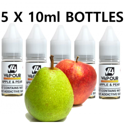 5 X 10ml Apple & Pear E Liquid by V4 V4POUR