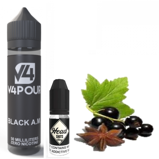 Black A.M. V4POUR FREE Nicotine Shot E Liquid 50ml