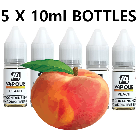 5 X 10ml Peach E Liquid by V4 V4POUR