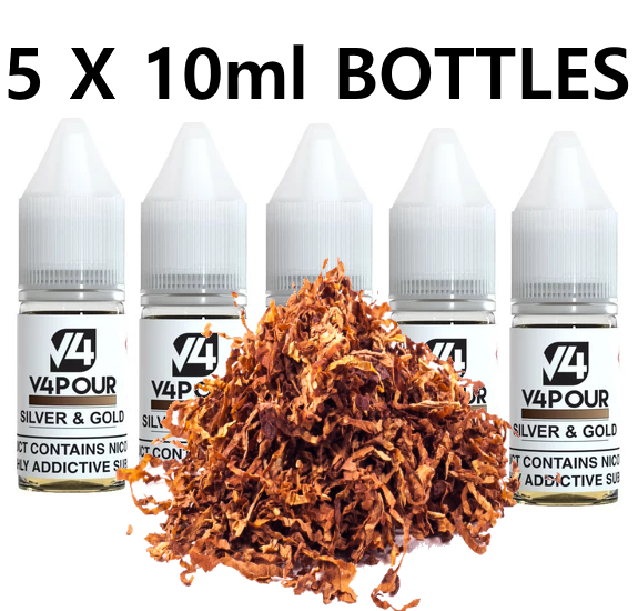5 X 10ml Silver & Gold E Liquid by V4 V4POUR