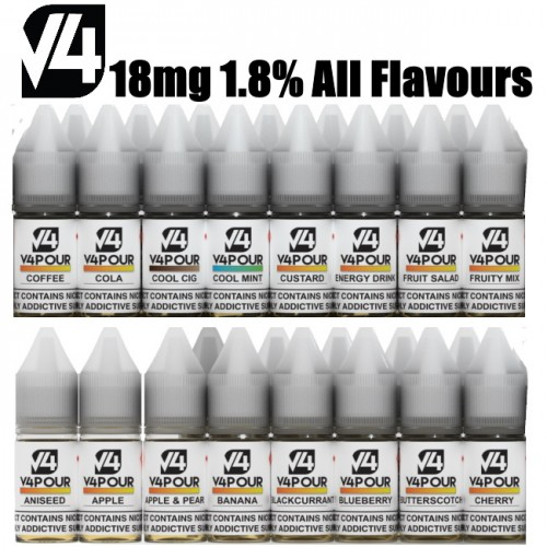 18mg (1.8) All Flavours V4POUR E Liquid | Vapour Me