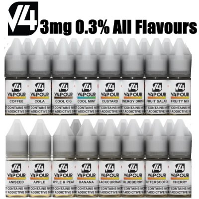 3mg (0.3%) All Flavours V4POUR E Liquid 10mls