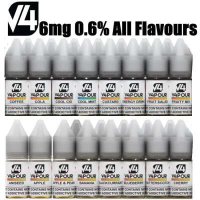 6mg (0.6%) All Flavours V4POUR E Liquid 10mls